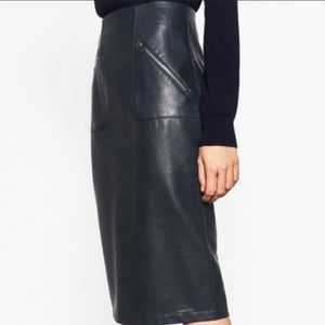 Zara faux leather skirt with zipper detail